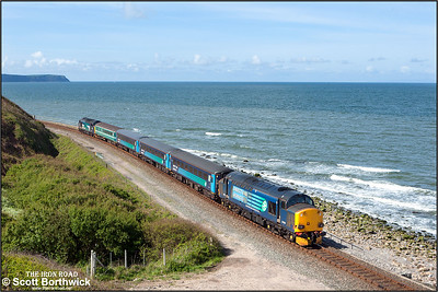 With St Bees Head clearly visible on the horizon to the left and the Isle of Man barely discernible to the right, 37606 brings up the rear of 2C40 0842 SO Carlisle-Barrow in Furness headed 37423 'Spirit of the Lakes' passing Lowca on 30/05/2015.