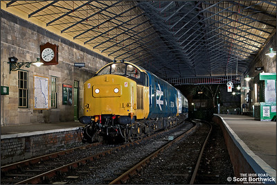 37264 stands under the roof at Pickering on 17/03/2013.