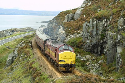 37416 departs from Mallaig on 22/09/2001 with 1Z38 1450 Mallaig-Edinburgh Waverley SRPS Charter.