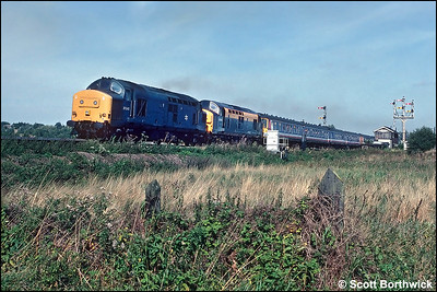 37245+37023 haul 2 x Class 312 EMU's away from Ely at Ely Dock Jnct forming 2G35 1215 Kings Lynn-Cambridge on 14/09/1991. The train was an additional working in connection with the Network South East 'Network Gala Day 1991'.