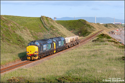 37423 'Spirit of the Lakes' + 37409 'Lord Hinton' approach Nethertown with 6C46 1911 Sellafield BNF-Carlisle Kingmoor DRS on 26/06/2013.