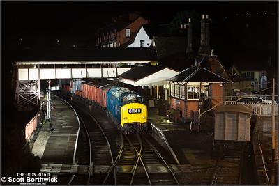 6940 (37240) awaits the road at Llangollen on 08/02/2014.