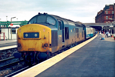 37300 awaits departure from Ayr with 1Z33 1830 Ayr-Glasgow Central relief on 16/07/1985.