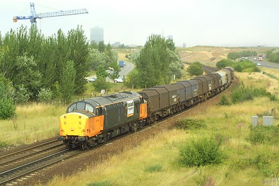 37710 passes Cargo Fleet on 07/08/2003 whilst perfoming the local 'odd job' trip, 6P60. On this occasion the train was running as 6P60 1735 Lackenby BSC-Tees Yard.