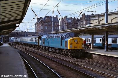 40057 arrives at Carlisle with a 1Z69 Stranraer Harbour-Carlisle additional on 30/07/1983.