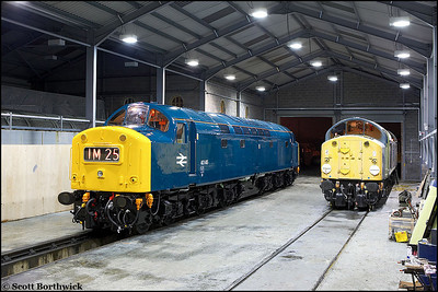 In her new coat of BR Blue, 40145 stands in the company of 40013 at Barrow Hill on 23/02/2006.