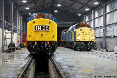 In a scene that could be any north western shed in the late 1970's, 40145 and 40013 are recorded for posterity on 23/02/2006 at Barrow Hill.