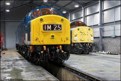40145 and 40013 at Barrow Hill on 23/02/2006.