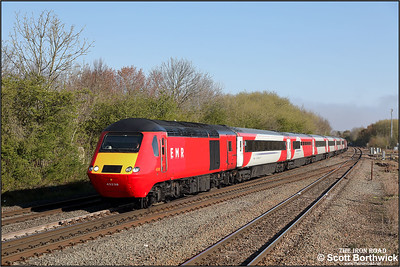 43238/43320 pass Syston whilst forming 1B23 0634 Leeds-London St Pancras International on 19/04/2021.