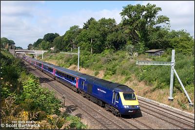 43030 'Christian Lewis Trust'/43087 form 1A76 0505 Penzance-London Paddington exiting Sonning cutting on 12/08/2016.