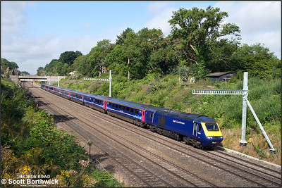 43154/43191 form 1A08 0509 Plymouth-London Paddington passing through Sonning cutting on 12/08/2016.