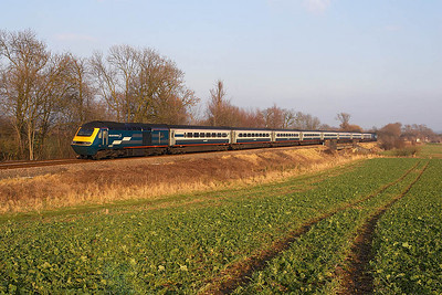 43007/43052 near Rotherby on 28/01/2006 with the diverted 1D26 1255 London St Pancras-Nottingham.