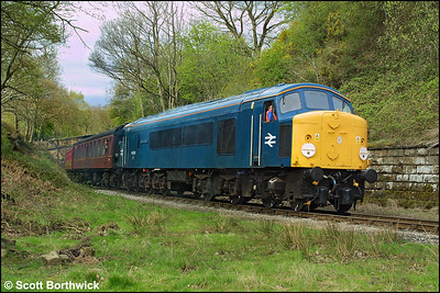 44004 'Great Gable' emerges from Beck Hole cutting whilst working the 1250 Grosmont-Pickering on 23/04/2004.