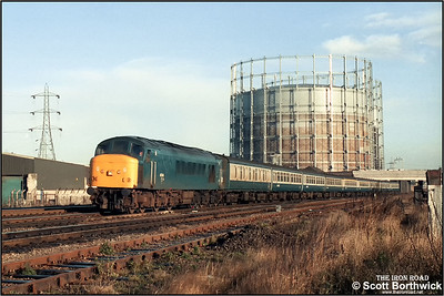 45144 'Royal Signals' passes Washwood Heath whilst in charge of 1M55 0835 Leeds-Birmingham New Street on 19/12/1986.