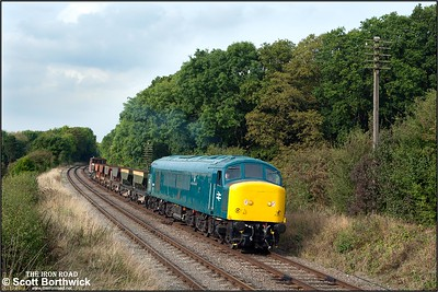 45041 'Royal Tank Regiment' passes Kinchley Lane with a short ballast train on 29/09/2014.