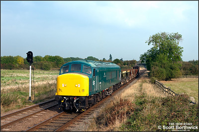 45041 'Royal Tank Regiment' passes Woodthorpe with a short ballast train on 29/09/2014.