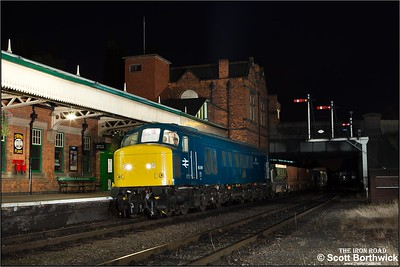 45041 'Royal Tank Regiment' arrives at Loughborough Central with a short ballast train on 29/09/2014.
