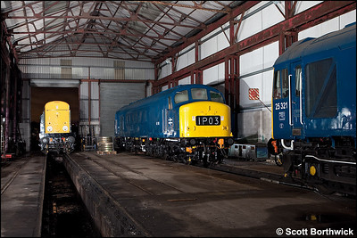 45108 has 25321 & 20048 company inside the shed at Swanwick TMD on 12/12/2009.