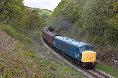 45133 is in charge of the 1245 Grosmont-Pickering service at Beck Hole on 13/05/2005.