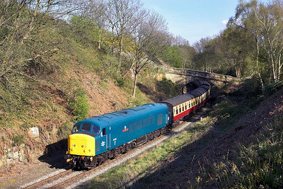 45135 '3rd Carabiner' rounds the curve at Beck Hole whilst working the 1540 Pickering-Grosmont on 05/05/2006.