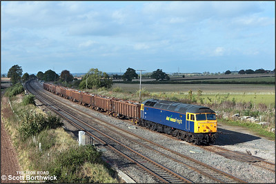 With the clouds rapidly chasing it, 47237 trundles along Elford loop whilst working 6V95 1022 Stockton-Cardiff Tidal Sdgs on 09/10/2008.