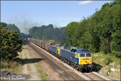 47848 'Titan Star' + 47 839 'Pegasus' blast away from a signal check at Bentley Heath whilst on hire to Colas working 6Z48 1305 ThO Burton upon Trent-Dollands Moor on 10/09/2009.