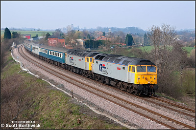 47813 'John Peel' + 47828 'Joe Strummer' power Steamy Affairs 'Bronte Country & York' 1Z67 0608 St Albans-Keighley at Ferrybridge on a gloomy 31/03/2007.