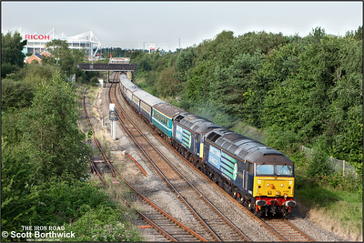 47802 'Pride of Cumbria'+47841 pass Three Spires Jnct, Coventry whilst working 1Z83 1059 Glasgow Central-Southampton Eastern Docks 'Cruise Saver' on 03/09/2012.