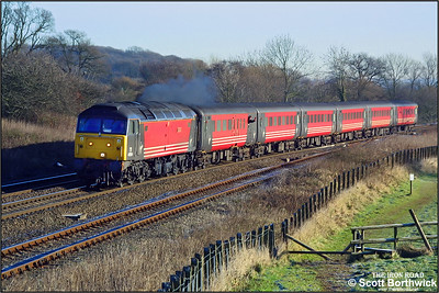 47854 'Women's Royal Voluntary Service' is pictured climbing Hatton bank on 31/12/2001 with 1M20 0932 Reading-Manchester Piccadilly. The train was diverted via Solihull to avoid congestion around Coventry due to the OHLE being down between Coventry & Rugby.