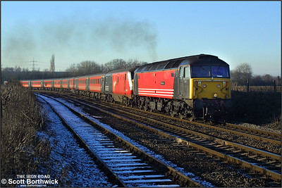 47741 'Resilient' dragging 82122 accelerates away from Whitacre Junction as it works 1A48 1319  Wolverhampton-London Euston on the afternoon of 05/01/2003. 90001 was dead on the rear.