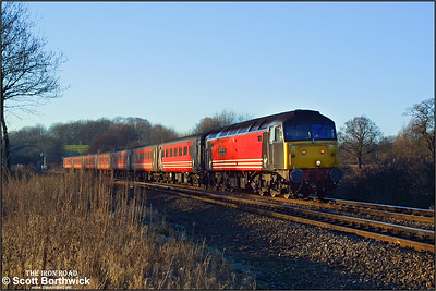 47828 'Severn Valley Railway, Kidderminster-Bewdley-Bridgnorth' drops down Hatton bank whilst in charge of 1V50 0840 Glasgow Central-Penzance on 31/12/2001. The train was diverted from Birmingham-Bristol via Oxford due to engineering work between Birmingham and Cheltenham Spa.