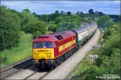 47792 'Robin Hood' passes Holmes House Farm, Bishops Itchington with Past Time Railtours 'The Ascot Flyer' 1Z40 0649 Manchester Piccadilly-Ascot on 'Ladies Day' 19/06/2003. This charter ran for three consecutive days 17, 18 & 19 June with the same motive power & stock in connection with the Royal Ascot race meeting.