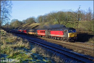 47747 'Graham Farish' opens up as it emerges from the cutting at Hatton whilst working the diverted 1V59 0914 Manchester Piccadilly-London Paddington on 31/12/2001. The train was diverted via Solihull to avoid congestion in the Coventry area as the OHLE was down between Coventry & Rugby.