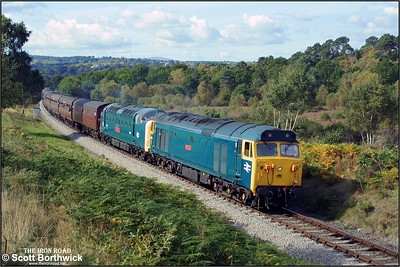 50049 'Defiance' pilots 55019 'Royal Highland Fusilier' on the 1150 Bridgnorth-Kidderminster service during the SVR Autumn Diesel Gala on 04/10/2002.