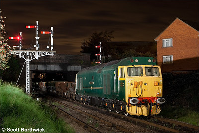 50007 'Sir Edward Elgar' stands silent at Beeches Road, Loughborough during an engineering possession on 14/09/2009.