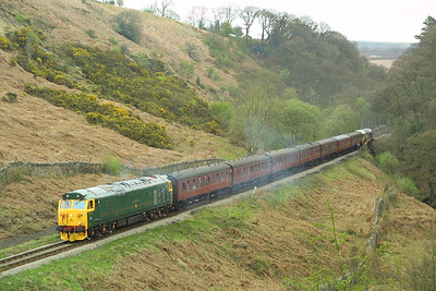 50007 rolls downhill at Thomason Foss with the 1120 Pickering-Grosmont service on 24/04/2004.