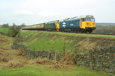 50033+50007 make a fine sight at Moorgates on the 24/04/2004 as they power the 1350 Grosmont-Pickering service.