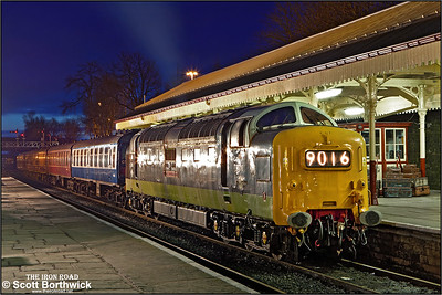 D9016 'Gordon Highlander' shunts the stock prior to an EMRPS Photo Charter at Bury Bolton Street on 16/02/2013.
