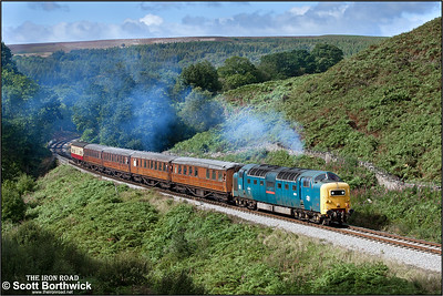 55022 'Royal Scots Grey' powers up the bank at Thomason Foss whilst working 2P07 1230 Grosmont-Pickering on 14/09/2012.
