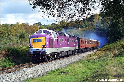 D9016 'Gordon Highlander' (55016) emerges from Foley Park Tunnel whilst in charge of the 1245 Kidderminster-Bridgnorth service on 04/10/2002.