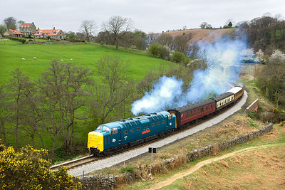 55019 is smoking well and running 25 late at Darnholm with 2A03 1010 Grosmont-Goathland on 20/04/2007.