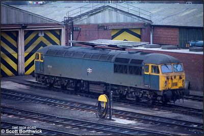 56010 rests between duties at Knottingley on 14/03/1986.