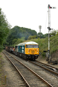 56057 awaits the road into Wansford station after providing the entertainment with a couple of run pasts during the EMRPS photographic charter of 22/07/2005.