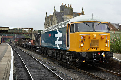 56057 sits in Wansford station on 22/07/2005.