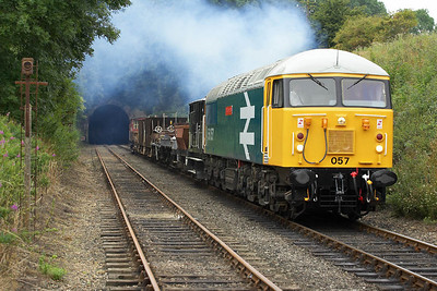 56057 runs past the gallery in Wansford Cutting for the second time on 22/07/2005. Note that the stock usually stored on the near line was removed prior to the photo charter commencing allowing this and the previous four photographs to be taken.