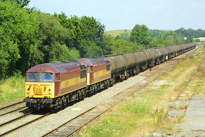 56065+56071 arrive at Kingsbury with a petroleum product from the refineries at Immingham.