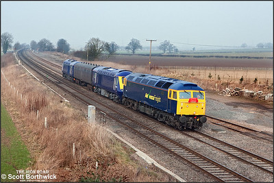 Newly reliveried 57006 hauls HST power cars 43034 and 43015 from Brush Loughborough back to the Western Region after overhaul seen passing Elford on 20/02/2008 running as 5Z46 1110 Loughborough Brush-Landore TMD.
