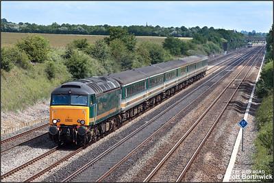 57603 'Tintagel Castle' passes Shottesbrooke Farm with 5Z35 1110 Old Oak Common-Bristol Parkway driver training run on 11/07/2005.