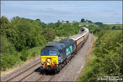 57306 & 57310 top & tail 'The Northern Belle' at Holmes House Farm, Bishops Itchington whilst working 1Z60 0715 Manchester Victoria-Ascot on Ladies Day 18/06/2015.
