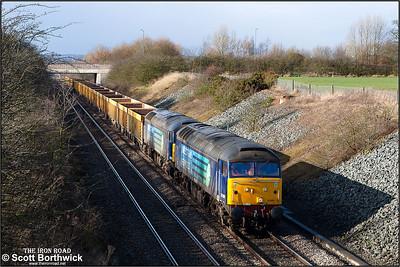 57008+57010 pass Wheatcroft Farm, Nuneaton whilst working 6U76 0859 Crewe Basford Hall SSM-Mountsorrel Sdgs on 10/02/2014.
